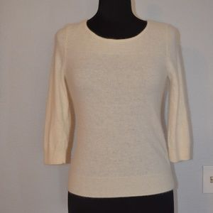 HALOGEN Sweater ANGORA WOOL SIZE S WHITE 3/4SLEEVE